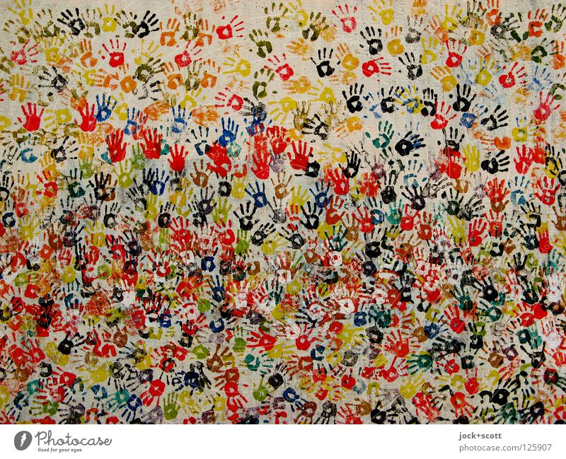 handmade by many colorful hands Handcrafts by hand Street art Touch Happiness Many Moody Determination Together Humanity Life Chaos Friendship Society Complex