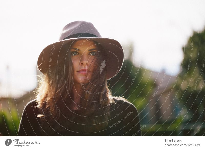 Girl and her hat Lifestyle Luxury Elegant Style Design Exotic Beautiful Human being Young woman Youth (Young adults) 1 18 - 30 years Adults Fashion Hat Esthetic