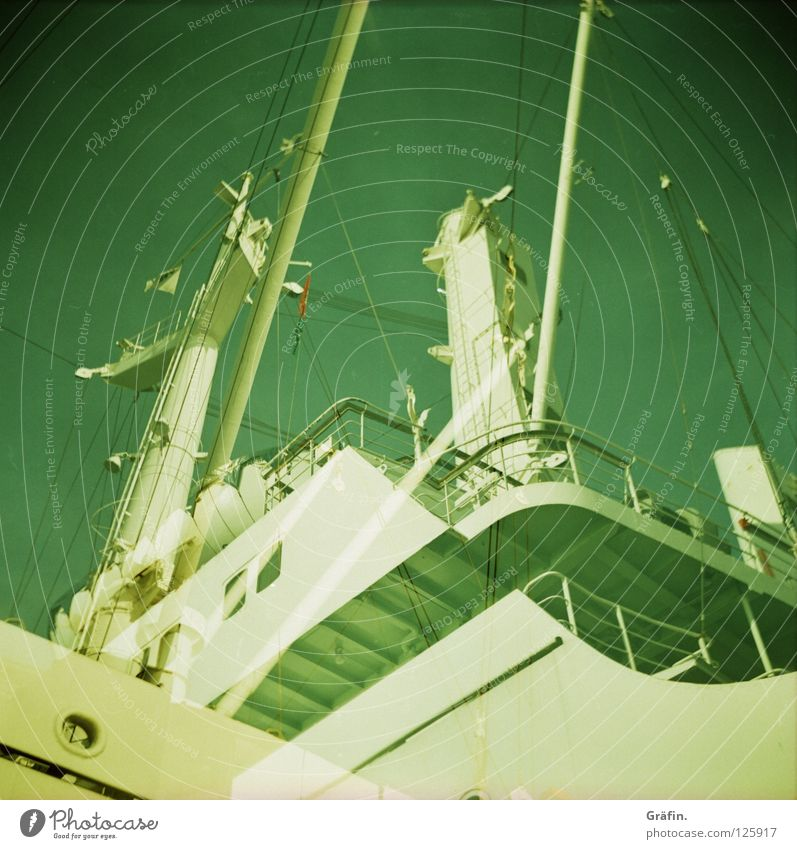 Green White Metal Watercraft Stairs Bridge Driving Logistics Harbour Longing Handrail Sailing Navigation Electricity pylon Engines Arrange