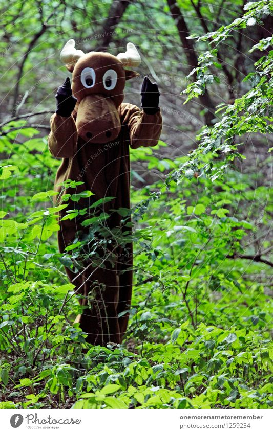 Hook it! Art Work of art Esthetic Elk Elk cow Bull Moose Stress Aggression Fingers Middle finger Threaten Menacing Costume Forest Carnival costume Brown