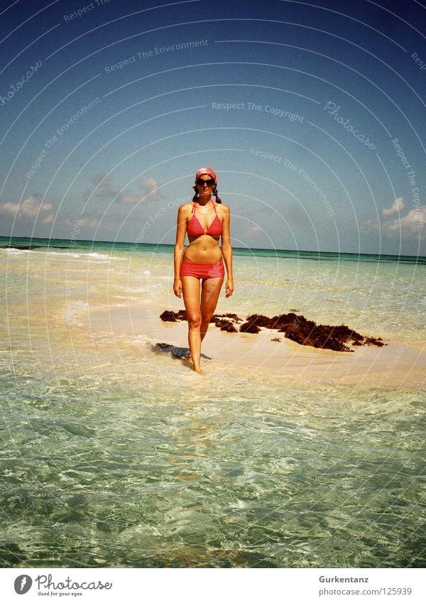 Isla de Mujer Yucatan Fraueninsel Vacation & Travel Beach Coast Ocean Woman Bikini Idyllic beach Dream island Sandbank Turquoise Pink Braids Sunglasses