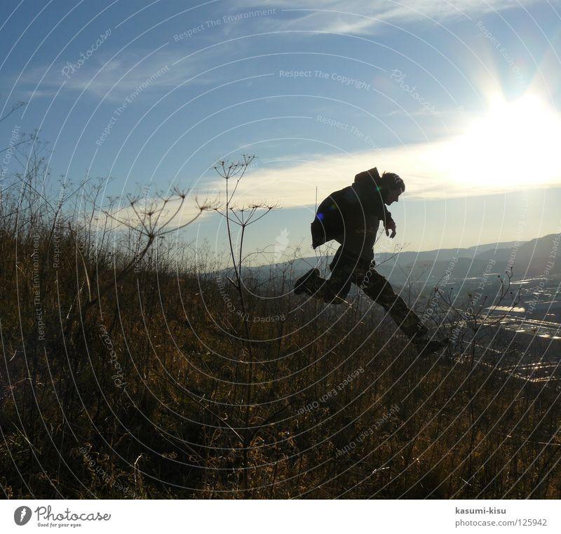 Catch me! Man Straw Clouds Speed Jump Dangerous Joy Sun Sky Walking Flying