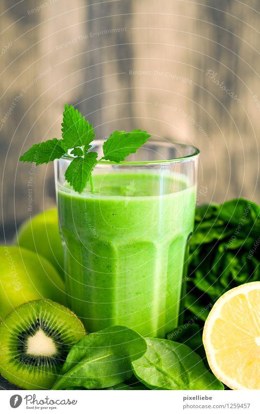 Green smoothie with green stuff Food Vegetable Lettuce Salad Fruit Apple Dessert Breakfast Organic produce Vegetarian diet Diet Fasting Beverage Drinking