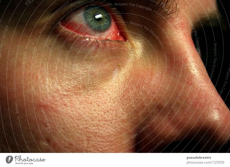 Human being Man Red Dark Adults Face Eyes Health care Fear Clean Illness Creepy Pain Vessel Blood Panic