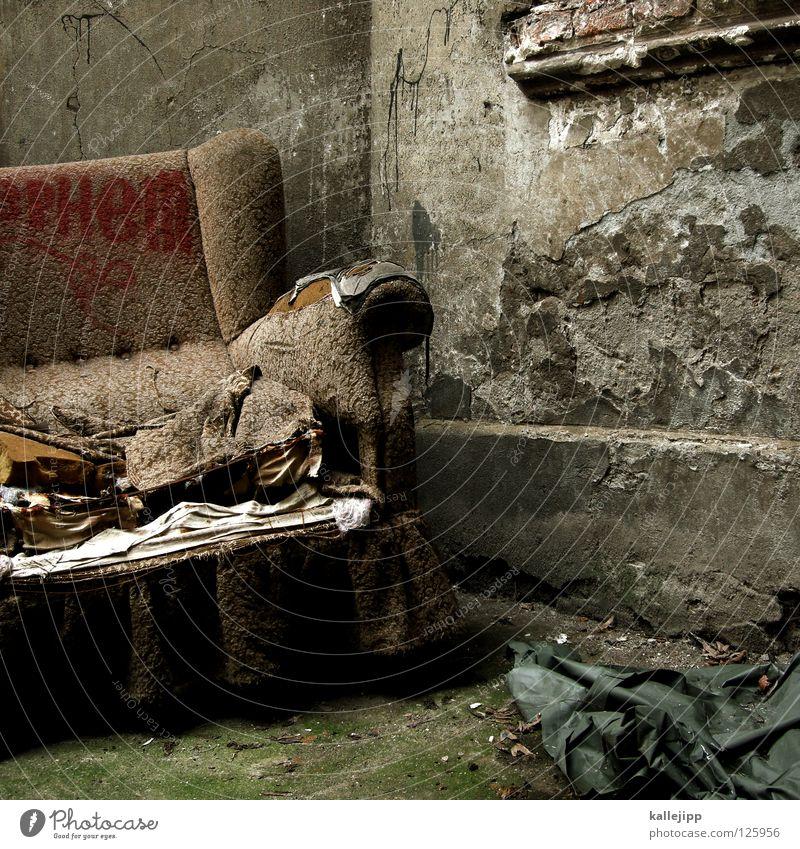 Old Feather Corner Idea Soft Cloth Derelict Decline Trash Sofa Seating Shabby Plaster Backyard Remainder Armchair