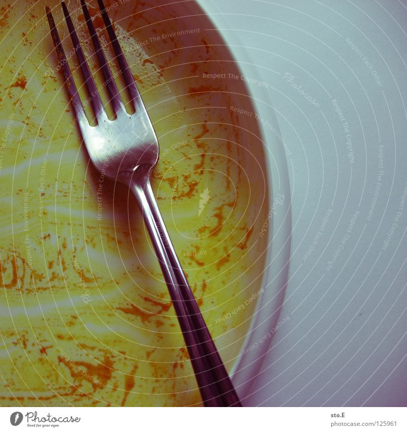 back to work... Midday Fork Cutlery Nutrition Plate Empty Eaten Completed Lunch hour Break Appetite Yellow India Curry powder Background picture Pattern