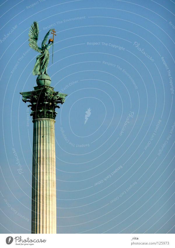angels Statue Light blue Green Blue-green Landmark Monument Angel Sky Column Wing angel wings