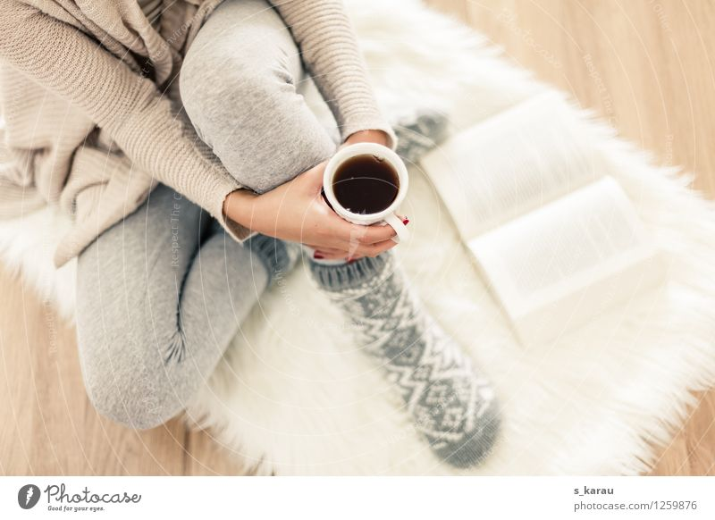 winter afternoon Beverage Drinking Hot drink Tea Cup Lifestyle Body Harmonious Well-being Relaxation Calm Reading Feminine Arm Hand Legs Feet 1 Human being Book