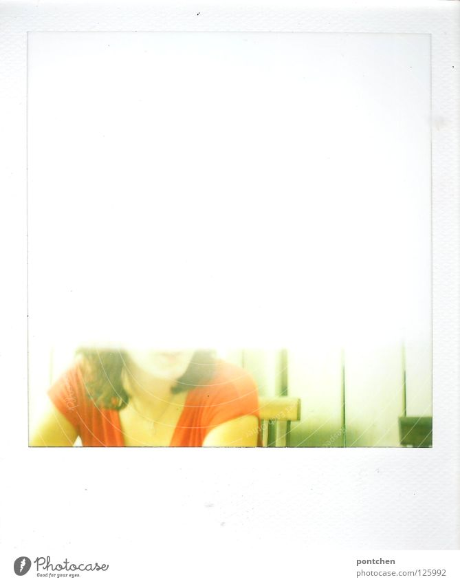 Misdeveloped polaroid shows chin and half of the upper body of a woman Colour photo Polaroid Copy Space top Copy Space bottom Summer Human being Woman Adults