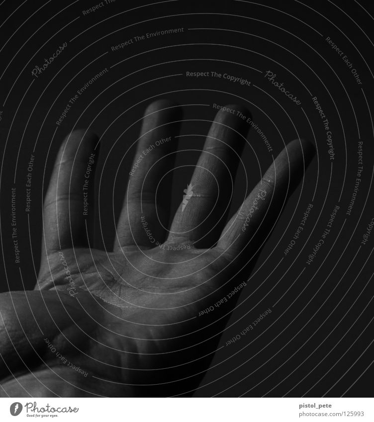 only four out of five Hand Fingers Fingerprint 4 Black & white photo Parts of body Skin Wrinkles