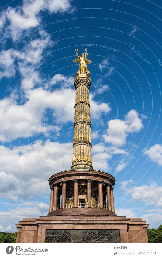 Vacation & Travel Blue Clouds Architecture Berlin Tourism Manmade structures Landmark Monument Capital city Downtown Tourist Attraction Goldelse victory statue