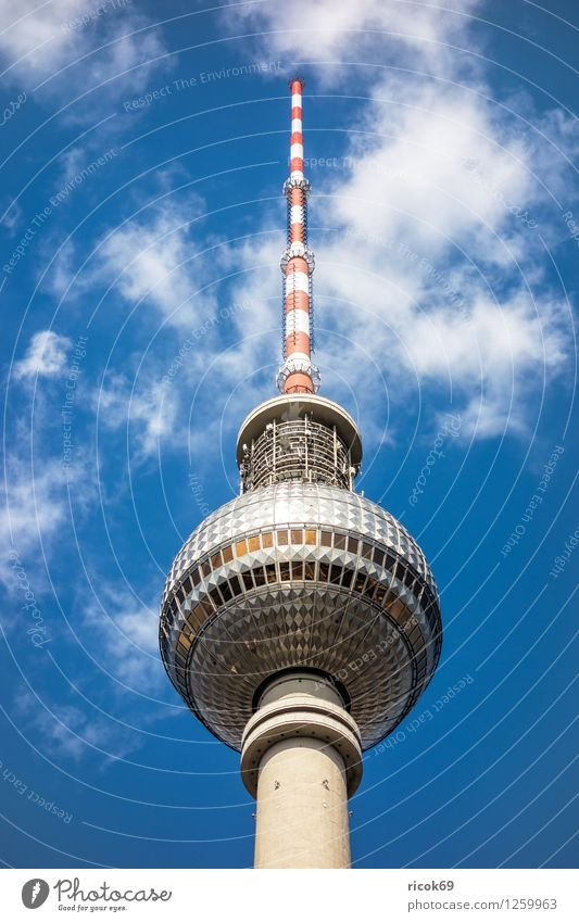 Berlin Television Tower Vacation & Travel Tourism Clouds Town Capital city Downtown Manmade structures Architecture Tourist Attraction Landmark Blue