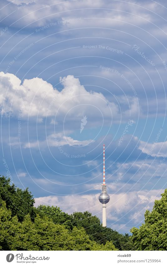 Berlin Television Tower Vacation & Travel Tourism Clouds Tree Town Capital city Downtown Manmade structures Architecture Tourist Attraction Landmark Blue Green