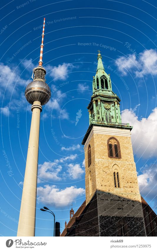 Television Tower and St. Mary's Church Vacation & Travel Tourism Clouds Capital city Downtown Manmade structures Architecture Tourist Attraction Landmark Blue