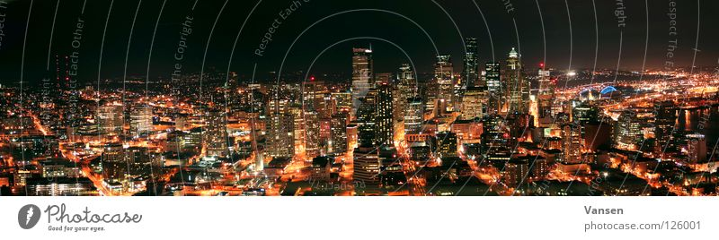 Seattle@Night Town Panorama (View) Dark Long exposure Vessel High-rise USA Light Skyline Large Panorama (Format)