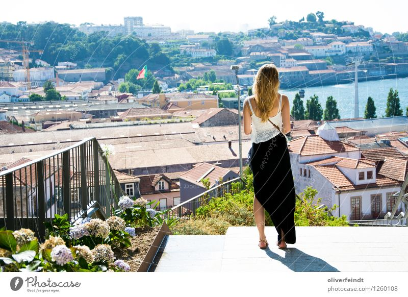 Human being Sky Vacation & Travel Youth (Young adults) Young woman Summer Town Beautiful Sun House (Residential Structure) Far-off places Feminine Tourism