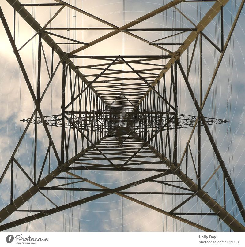 The third attempt... Electricity Electricity pylon Worm's-eye view Muddled Spider's web Steel Iron Clouds Strong Stand Industry Tall Upward Sky