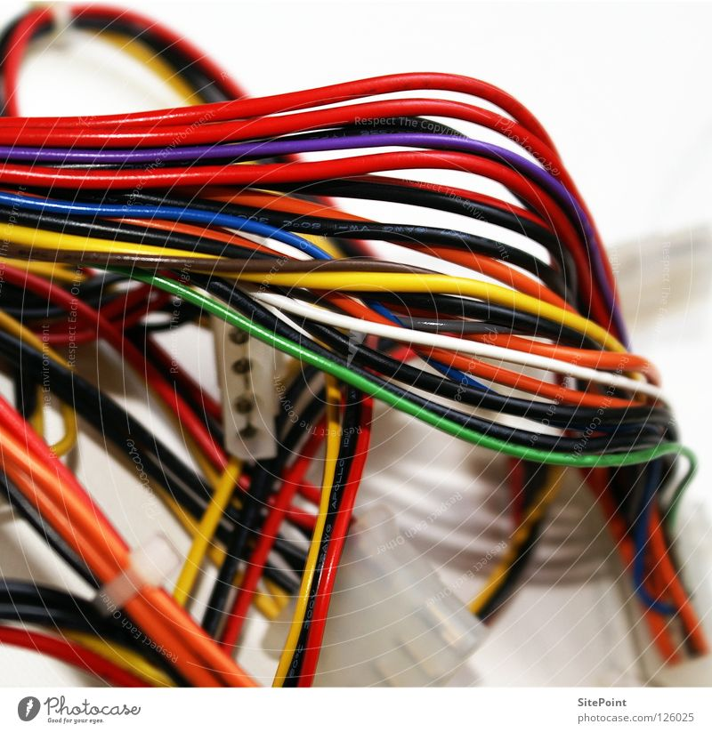 cable stuff Multicoloured Yellow Green Red White Muddled String Communicate Macro (Extreme close-up) Close-up Cable Blue Orange Technology network