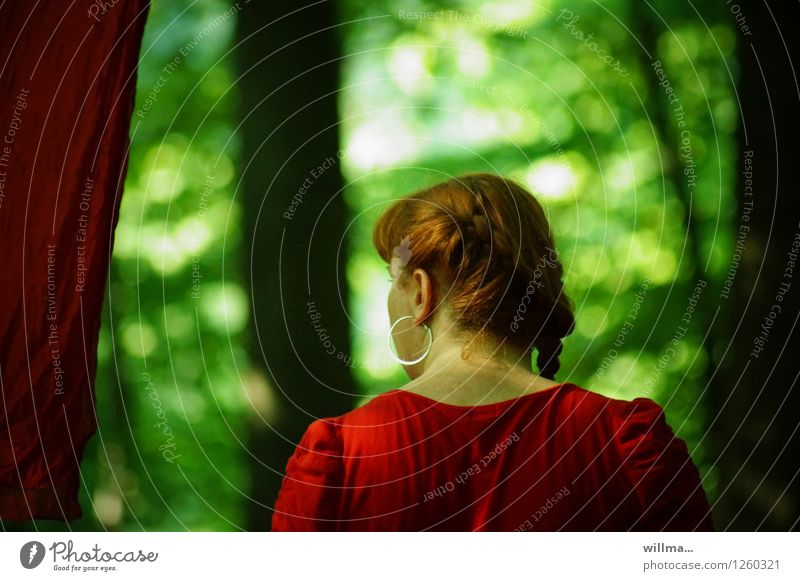 pZ3 I was going through a... Young woman Youth (Young adults) Woman Adults Head Back Forest Earring Red-haired Dark Green Colour photo Exterior shot Rear view