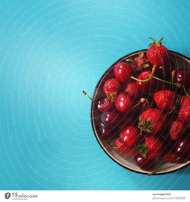 I'm good for cherries! Food Nutrition Picnic Vegetarian diet Bowl Fresh Delicious Wet Round Sweet Blue Red Turquoise Cherry Strawberry Minimalistic
