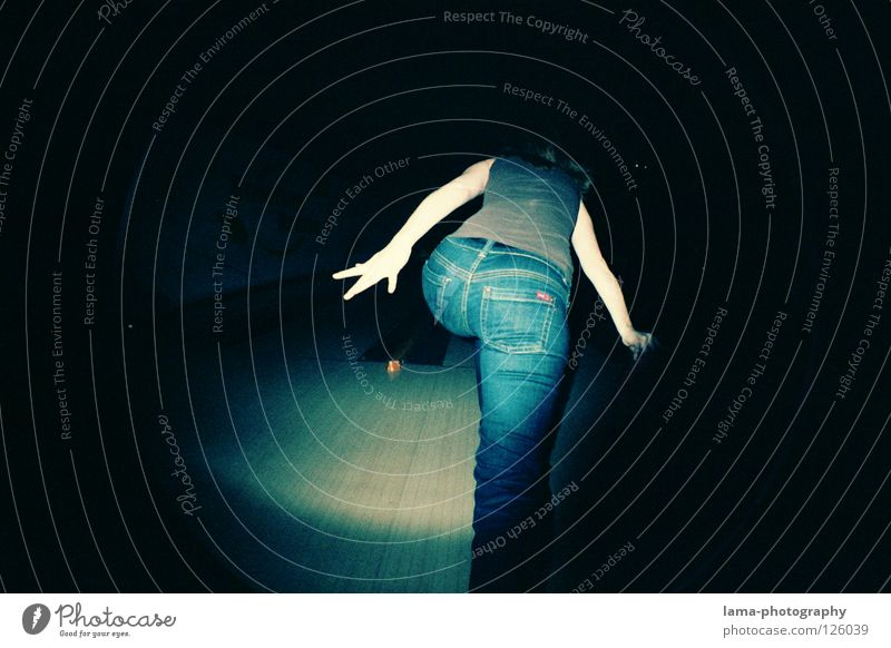 Woman Hand Joy Playing Back Arm Action Circle Round Jeans Hind quarters Sphere Pants Analog Snapshot Boredom