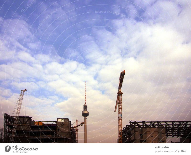 Berlin Nischel Alexanderplatz Palace Palace of the Republic Dismantling Crane Construction site Landmark Monument Transience Berlin TV Tower radio and ukw tower