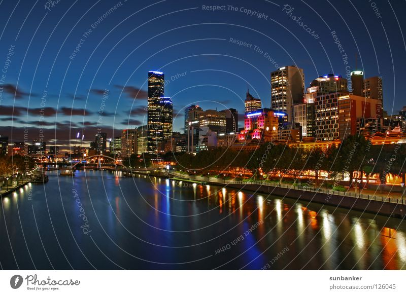 Melbourne Night Australia Night shot Romance Dusk Town Skyline Paradise River River bank City light Water reflection High-rise Night sky