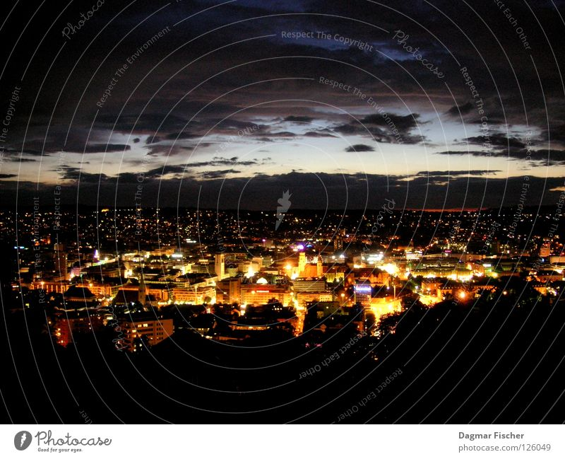 Stuttgart at night Evening Night Light Long exposure Bird's-eye view Panorama (View) Calm Tourism Far-off places Freedom Mountain House (Residential Structure)