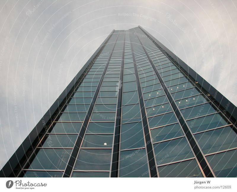 The highest house 2 High-rise Clouds Sky Window Facade Architecture Duesseldorf Tall building Glass Front side
