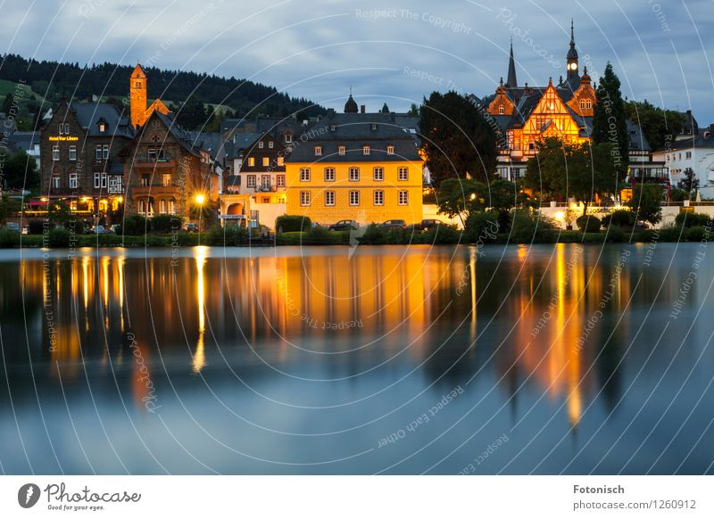 Traben-Trarbach Silence River Mosel (wine-growing area) Traben-Trabach Old town Manmade structures Calm Colour photo Exterior shot Copy Space bottom Twilight