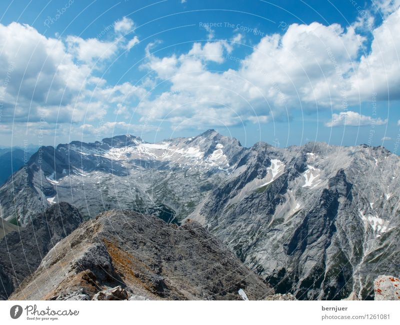 Nature Blue Summer Landscape Clouds Mountain Environment Gray Rock Authentic Climate Beautiful weather Peak Alps Wanderlust Sharp-edged