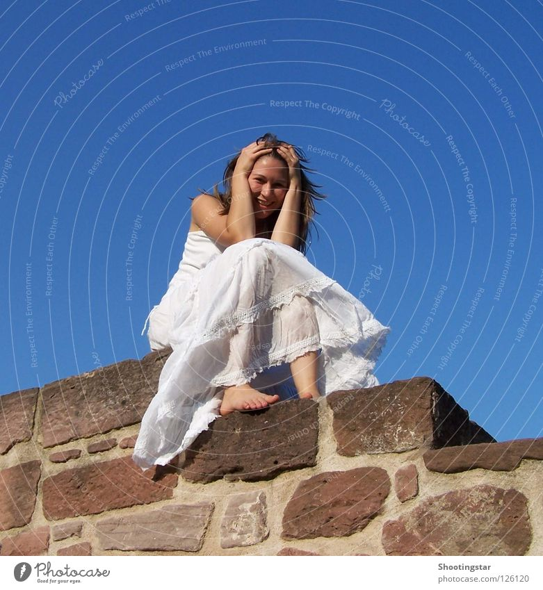Woman White Wall (barrier) Sit Blue sky Bride