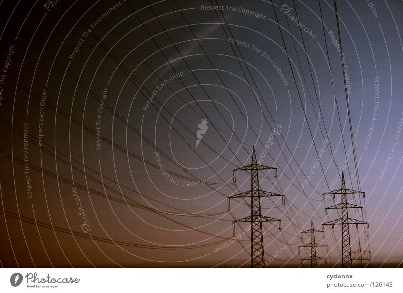 Sky Far-off places Energy industry Electricity Railroad Might Industry Cable Logistics Net Traffic infrastructure Connection Services Store premises Americas