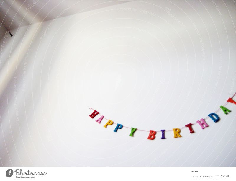 White Joy Wall (building) Bright Infancy Room Congratulations Birthday Happiness Characters Letters (alphabet) Decoration Row Idea Chain Jubilee