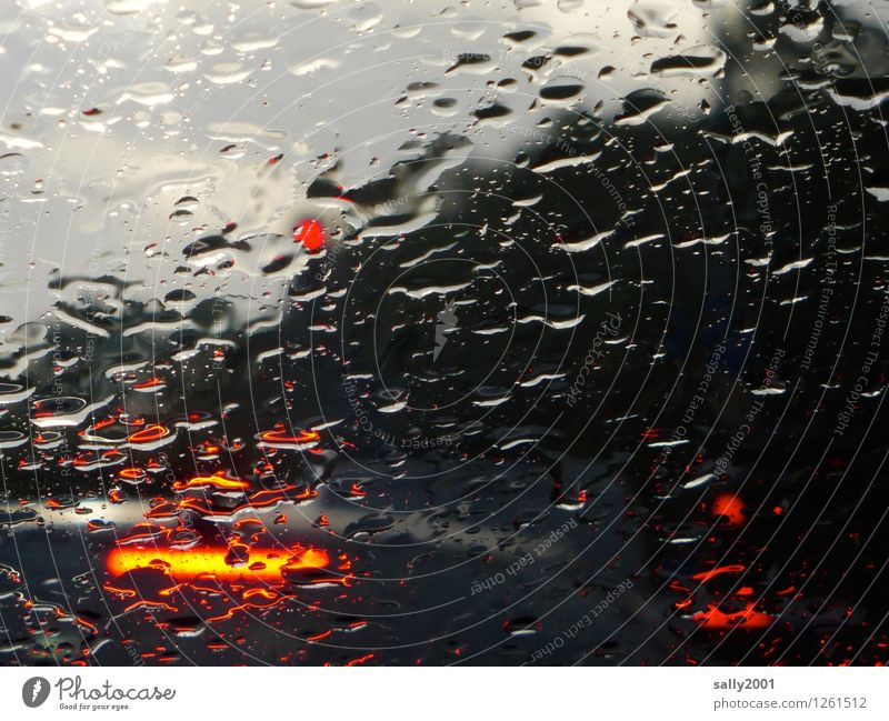 Red light in the rain... Bad weather Rain Traffic light Car Wait Threat Dark Cold Wet Loneliness Dangerous Stress Aggression Apocalyptic sentiment Windscreen