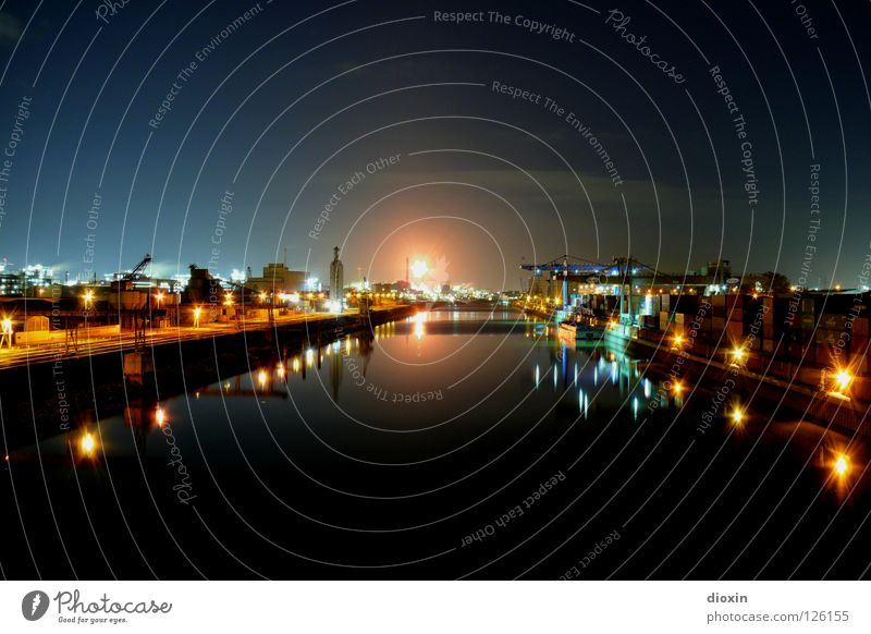 Water Beautiful City Calm Black Colour Night Bright River Industry Romance Factory Harbour Plastic Burn Navigation