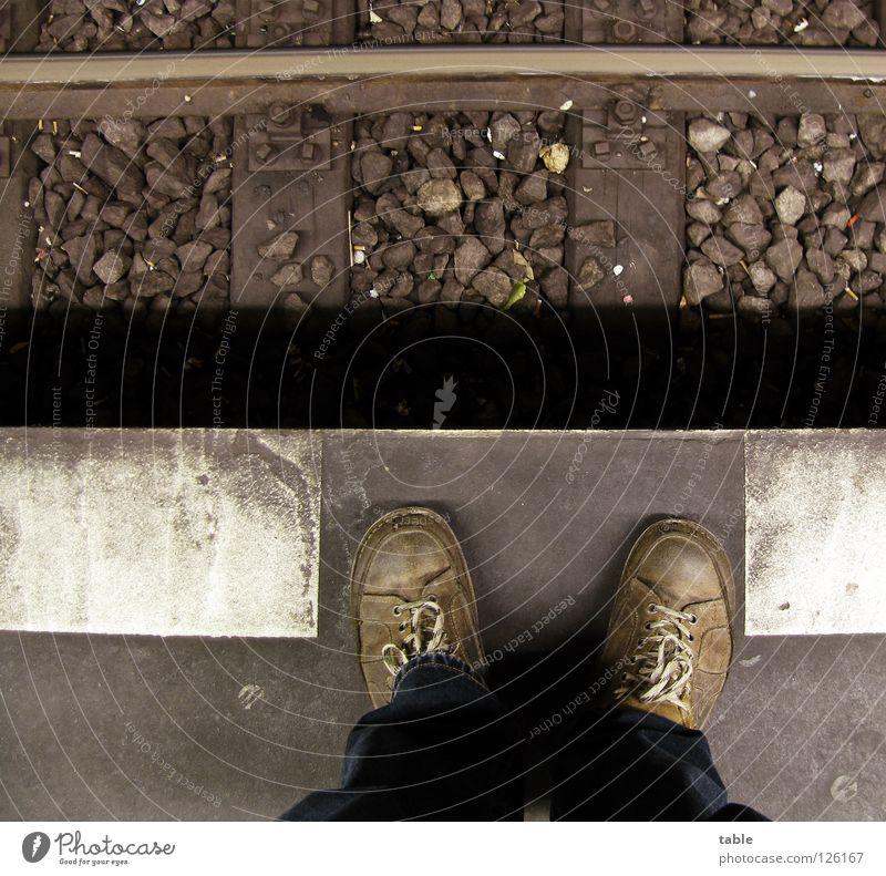 Human being Man Old Footwear Railroad Grief Train station Distress