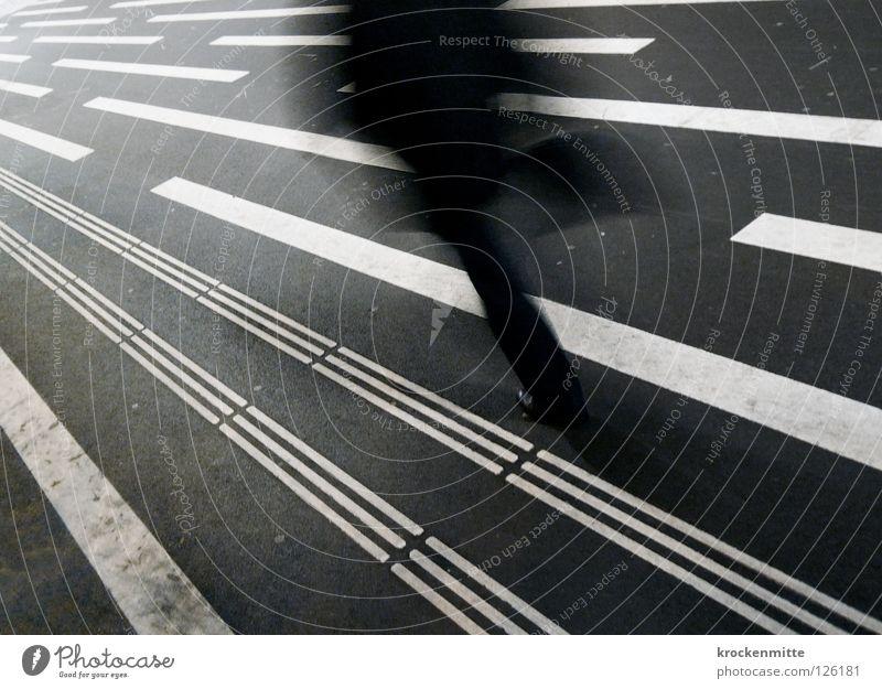 Purposefully Pedestrian Bag Black White Direction Going Asphalt Town Transport Single-minded Line Direction signs Traffic infrastructure Running Target hurry