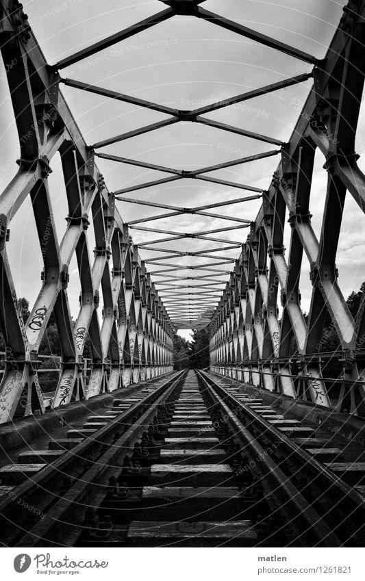 iron truss bridge Deserted Bridge Manmade structures Architecture Landmark Traffic infrastructure Train travel Rail transport Railroad Railroad tracks Original