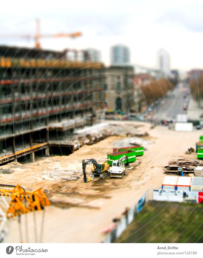 mini construction site Tilt-Shift Small Miniature Bird's-eye view Oberhausen The Ruhr North Rhine-Westphalia Green Palace Republic Excavator Crane