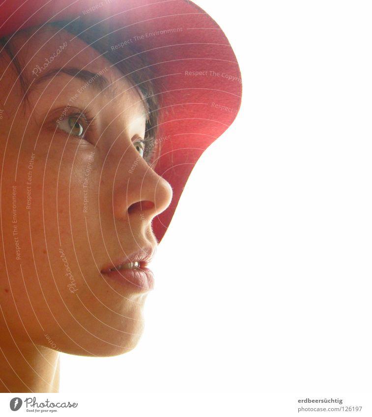 Inspiration Portrait photograph Lady Light Woman Face Eyes Expressive Nice Sun Concentrate Pure Hat Nose Mouth Figure of speech étonnée often source of light