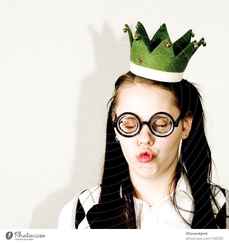 Woman Beautiful Mouth Wait Eyeglasses Kissing Cap To enjoy Treetop Fairy tale Expectation Character Blind Pout Princess Ashtray