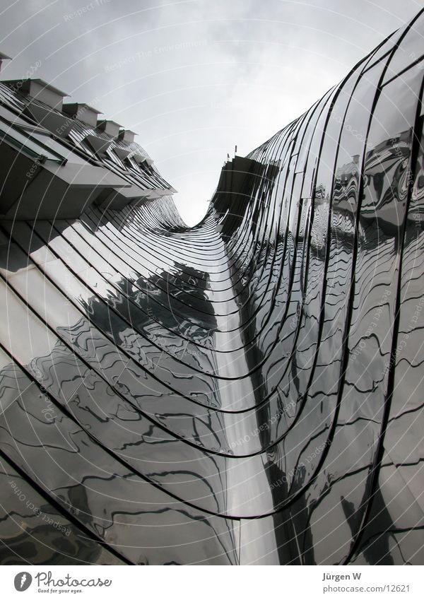 New customs yard, Düsseldorf Gehry buildings Clouds Sky Reflection Waves Architecture new yard Duesseldorf Metal