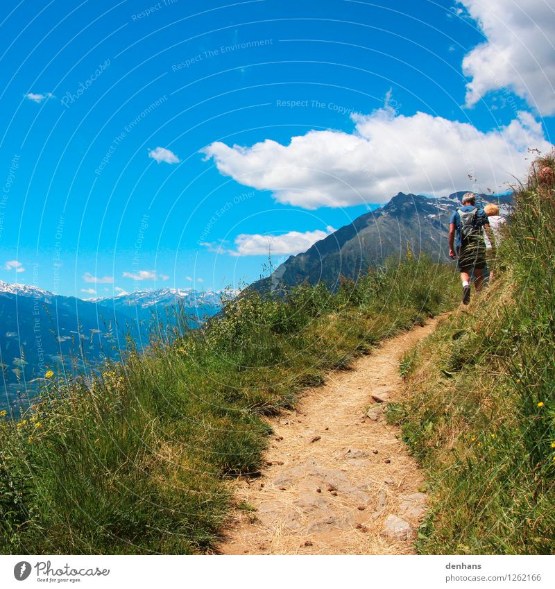 mountain hike Human being 2 Landscape Sky Summer Beautiful weather Grass Mountain Lanes & trails Movement Walking Hiking Far-off places Gigantic Athletic Blue