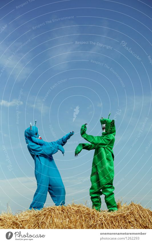 Human being Blue Green Joy Art Esthetic Carnival Fight Work of art Costume Blue sky Carnival costume Straw Monster Martial arts Comical