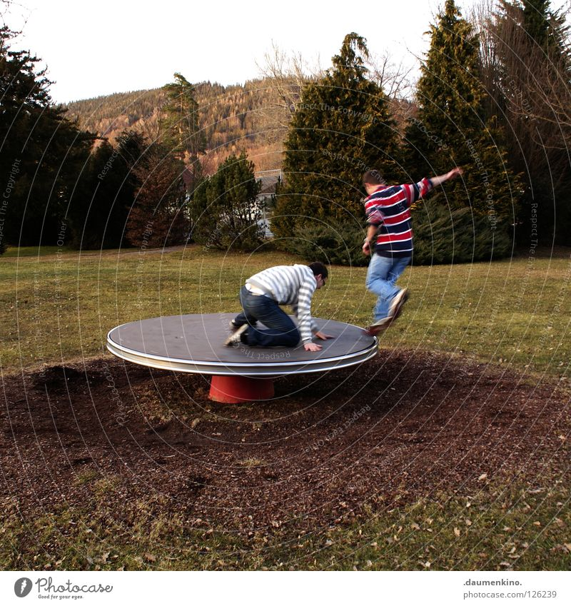 Human being Child Man Tree Joy Meadow Playing Grass Earth Dance Action Window pane Playground