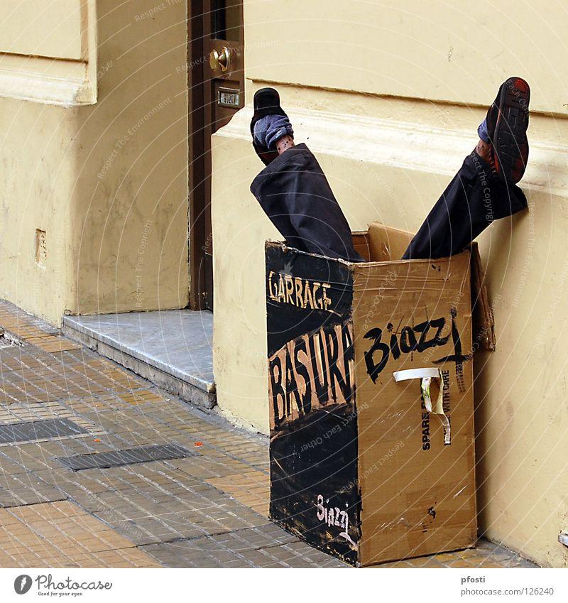 Joy Black Wall (building) Death Footwear Legs Brown Art Dirty Funny Trash Transience Argentina Cardboard Surprise Humor