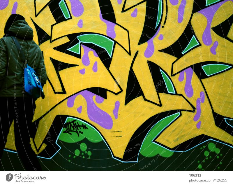 Human being Youth (Young adults) Green City Colour Yellow Street Graffiti Movement Style Art Background picture Pink Wait Fresh Stand