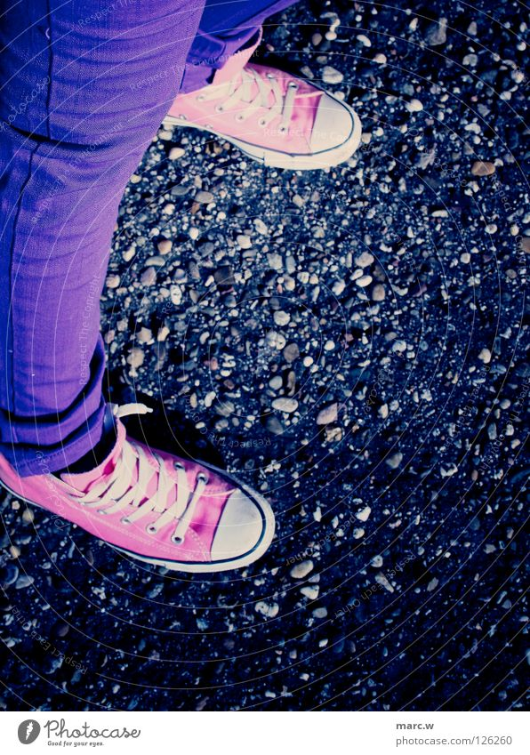 Chucks! Footwear Shoelace Stone floor Sidewalk Pink Joy Clothing blue pants tight pants Sneakers