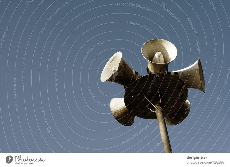 To talk Communicate Technology Open Information Trust Mysterious Advertising Loudspeaker Testing & Control Markets Respect Communication Distribute Rumor